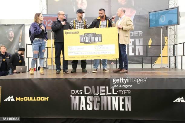 Jeannine Michaelsen, Andreas Kuhrt , JP Kraemer, Tim Wiese and Peer Gent attend the 'Duell der Maschinen' at Gut Schiff on May 10, 2017 in Bergisch...