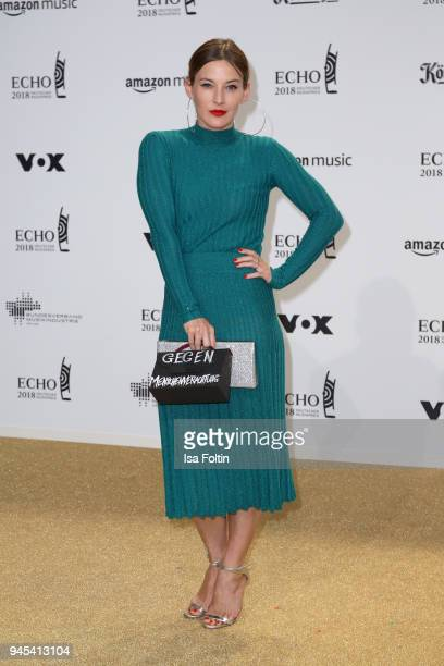 Jeannine Michaelsen arrives for the Echo Award at Messe Berlin on April 12, 2018 in Berlin, Germany.