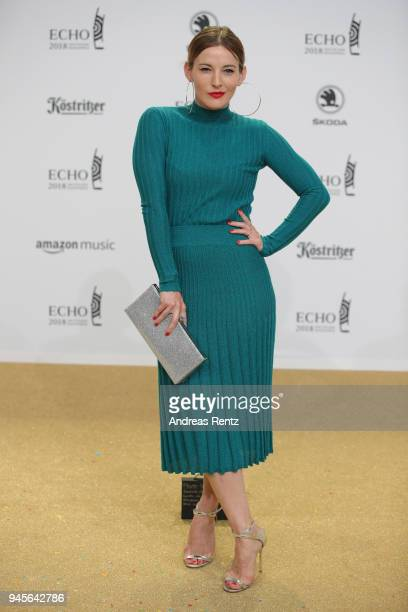 Jeannine Michaelsen arrives for the Echo Award at Messe Berlin on April 12 2018 in Berlin Germany