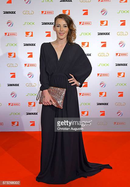 Jeannine Michaelsen attends the photo call for the 2016 programme presentation of TV broadcasters ProSiebenSat1 Media at Cinemaxx Dammtor on July 13...