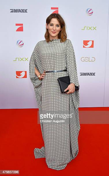 Jeannine Michaelsen attends the program presentation of the television channel ProSiebenSat.1 at Hamburg Cruise Centre Altona on July 7, 2015 in...