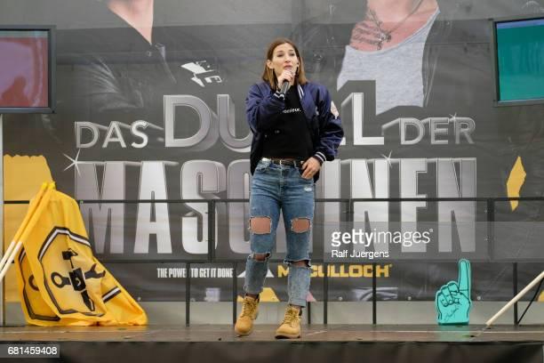 Jeannine Michaelsen moderates the 'Duell der Maschinen' at Gut Schiff on May 10, 2017 in Bergisch Gladbach, Germany.