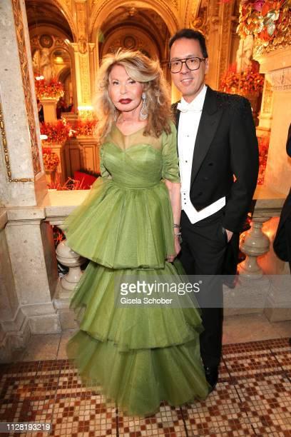 Jeannine Schiller fashion designer Thang de Hoo during the Opera Ball Vienna at Vienna State Opera on February 28 2019 in Vienna Austria