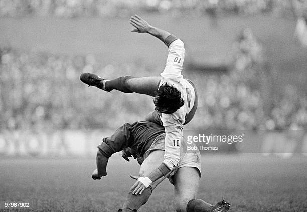 Jean-Patrick Lescarboura of France is up-ended by a tackle from Phil Orr of Ireland during the Ireland v France Rugby Union International match...