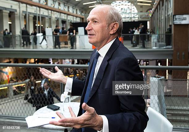 Jean-Paul Agon, chief executive officer of L'Oreal SA, gestures whilst speaking during a Bloomberg Television interview at the Hello Tomorrow...