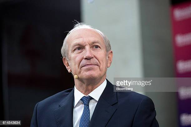Jean-Paul Agon, chief executive officer of L'Oreal SA, pauses during a Bloomberg Television interview at the Hello Tomorrow technology conference in...