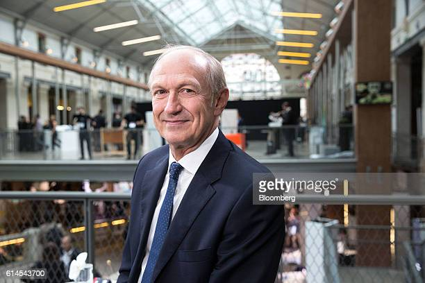 Jean-Paul Agon, chief executive officer of L'Oreal SA, poses for a photograph following a Bloomberg Television interview at the Hello Tomorrow...