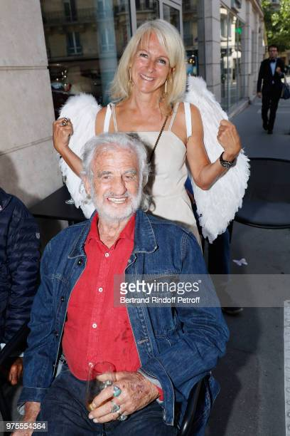 JeanPaul Belmondo and Ange attend the Street Art butterflies by Charlotte Joly Exhibition Preview at Veramente on June 15 2018 in Paris France