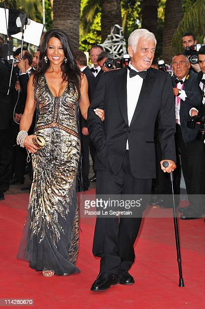 JeanPaul Belmondo and Barbara Gandolfi attends The Beaver premiere at the Palais des Festivals during the 64th Cannes Film Festival on May 17 2011 in...