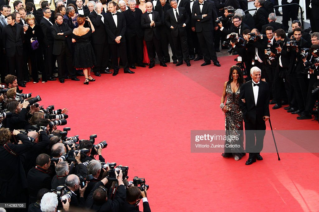 Jean-Paul Belmondo (R) and Barbara Gandolfi attends 'The Beaver' premiere at the Palais des Festivals during the 64th Cannes Film Festival on May 17, 2011 in Cannes, France.