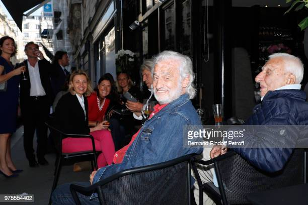 JeanPaul Belmondo and Charles Gerard attend the Street Art butterflies by Charlotte Joly Exhibition Preview at Veramente on June 15 2018 in Paris...