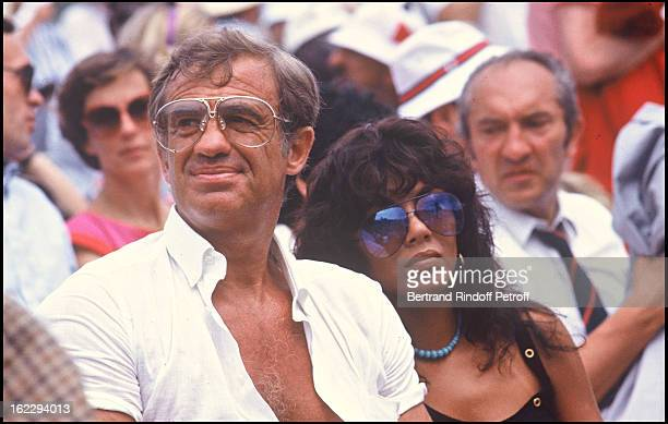 JeanPaul Belmondo and girlfriend Carlos Sotto Mayor at Roland Garros 1982