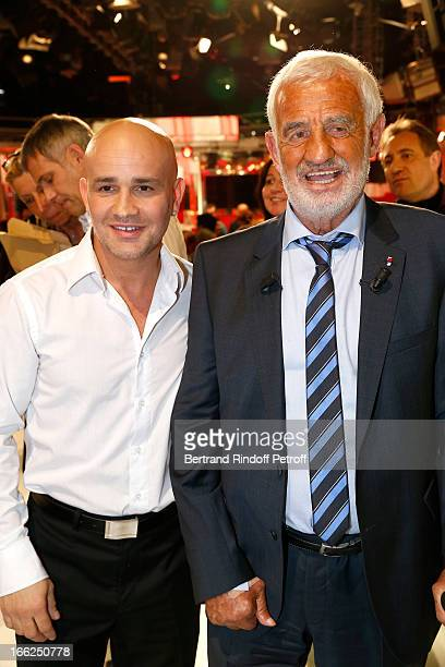 JeanPaul Belmondo and Rachid Ferrache attend 'Vivement Dimanche' French TV Show for the 80th anniversary of JeanPaul Belmondo at Pavillon Gabriel on...