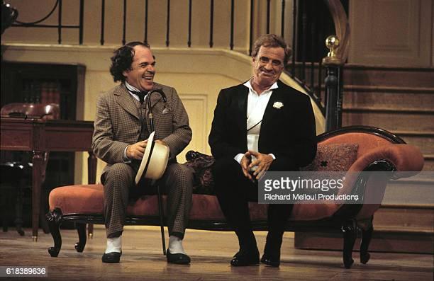 JeanPaul Belmondo and Ticky Holgado on stage in the 'Theater de Paris'