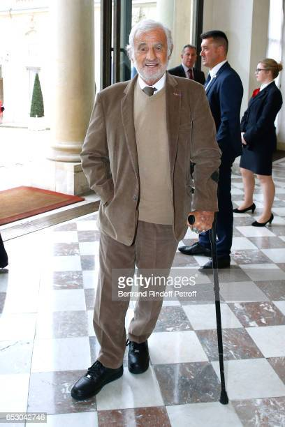 JeanPaul Belmondo attends Claude Brasseur is elevated to the rank of Officier de la Legion d'Honneur at Elysee Palace on March 13 2017 in Paris France