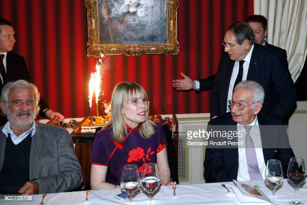 JeanPaul Belmondo Candice Patou her husband Robert Hossein and Isidore Partouche attend Robert Hossein celebrates his 90th Anniversary at Laurent...