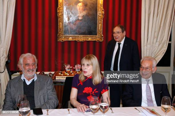 """Jean-Paul Belmondo, Candice Patou, her husband Robert Hossein and Isidore Partouche attend Robert Hossein celebrates his 90th Anniversary at """"Laurent..."""