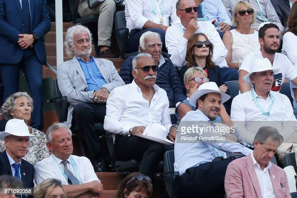 JeanPaul Belmondo Charles Gerard Isabelle Huppert and Mansour Bahrami attend the Men Final of the 2018 French Open Day Fithteen at Roland Garros on...