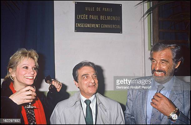 """Jean-Paul Belmondo, his brother Alain and sister Muriel at the opening of a High School Named """"Jean-Paul Belmondo"""" in 1988."""