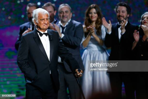 Jean-Paul Belmondo is seen on stage during the Cesar Film Awards Ceremony at Salle Pleyel on February 24, 2017 in Paris, France.