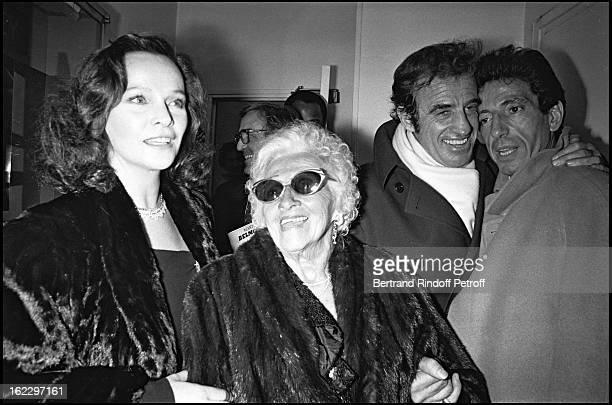 JeanPaul Belmondo Michel Creton Laura Antonelli and JeanPaul Belmondo's mother at Kean dress rehearsal Theatre de Marigny Paris 1987