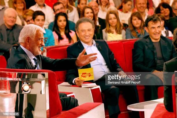 JeanPaul Belmondo Michel Drucker and Albert Dupontel attend 'Vivement Dimanche' French TV Show for the 80th anniversary of JeanPaul Belmondo at...