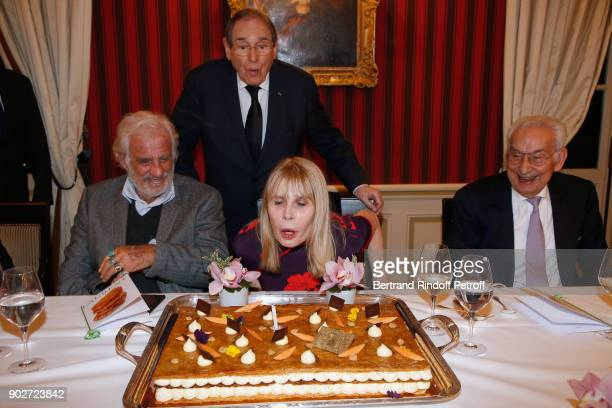 """Jean-Paul Belmondo, Robert Hossein, his wife Candice Patou and Isidore Partouche attend Robert Hossein celebrates his 90th Anniversary at """"Laurent..."""