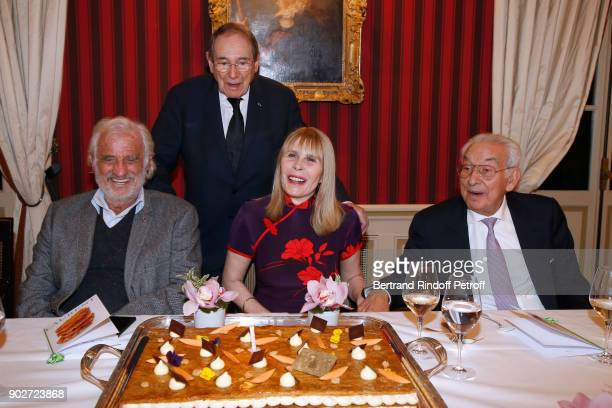 JeanPaul Belmondo Robert Hossein his wife Candice Patou and Isidore Partouche attend Robert Hossein celebrates his 90th Anniversary at Laurent...