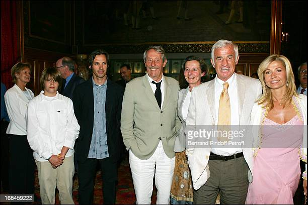 JeanPaul Belmondo son Paul Belmondo Paul's son Alexandre Jean Rochefort his wife and Natty Belmondo at JeanPaul Belmondo Receives The City Of Paris