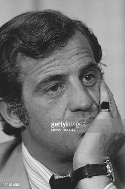 JeanPaul Belmondo who played in Alain Resnais's film 'Stavisky' at Cannes film festival in Cannes France on May 14 1974