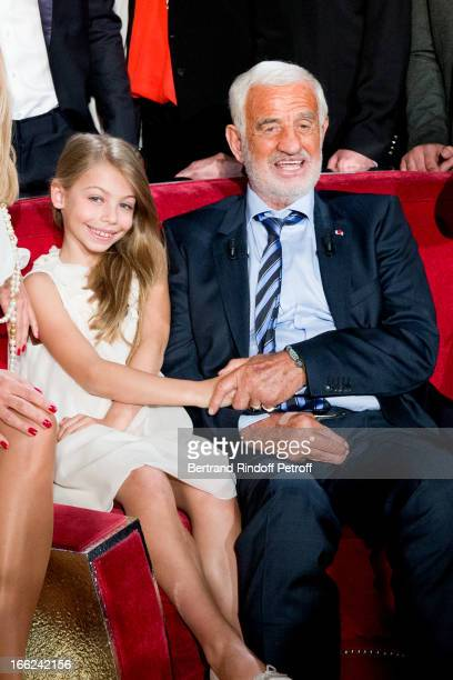 JeanPaul Belmondo with his daughter Stella attend 'Vivement Dimanche' French TV Show for the 80th anniversary of JeanPaul Belmondo at Pavillon...