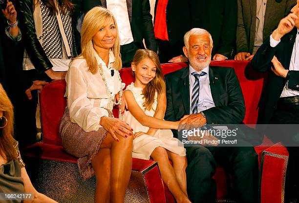 JeanPaul Belmondo with his daughter Stella Belmondo and his former wife Natty Belmondo attend 'Vivement Dimanche' French TV Show for the 80th...