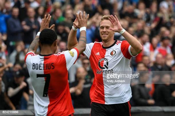 JeanPaul Boetius and Nicolai Jorgensen of Feyenoord celebrate a goal during the friendly match between Feyenoord and Real Sociedad at De Kuip or...