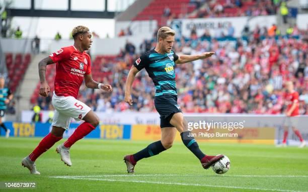 JeanPaul Boetius of FSV Mainz 05 and Arne Maier of Hertha BSC during the Bundesliga match between FSV Mainz 05 and Hertha BSC at OpelArena on October...