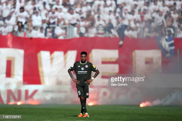 Jean-Paul Boetius of Mainz reacts during the DFB Cup first round match between 1. FC Kaiserslautern and 1. FSV Mainz 05 at Fritz-Walter-Stadion on...