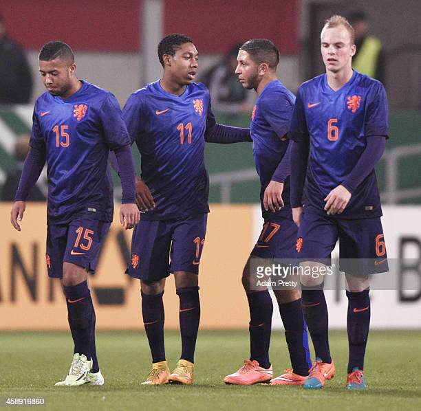 Jean-Paul Boetius of the Netherlands is congratulated after scoring a goal during the U21 Germany v U21 Netherlands International Friendly match at...