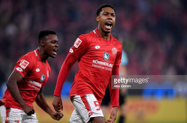 JeanPaul Boëtius of 1FSV Mainz 05 celebrates after he scores their first goal the Bundesliga match between 1 FSV Mainz 05 and 1 FC Koeln at Opel...