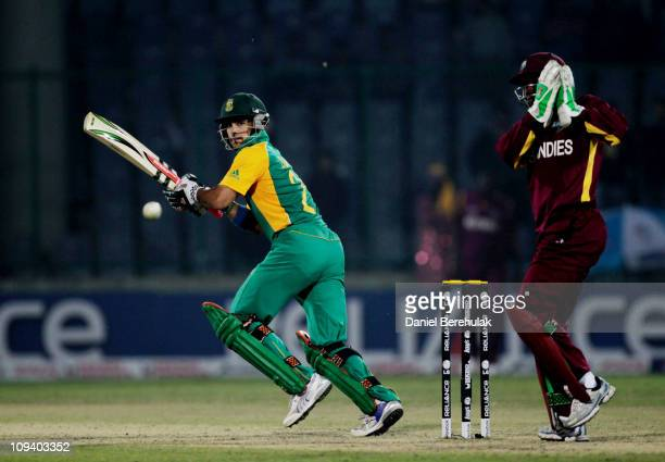 JeanPaul Duminy of South Africa bats during the 2011 ICC World Cup Group B match between West Indies and South Africa at Feroz Shah Kotla Stadium on...