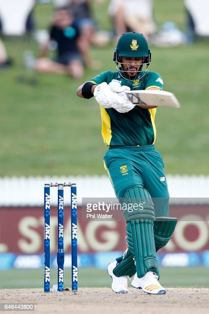 JeanPaul Duminy of South Arica bats during game four of the One Day International series between New Zealand and South Africa at on March 1 2017 in...