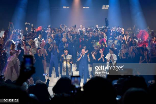 JeanPaul Gaultier acknowledges the applause of the public after during the JeanPaul Gaultier Haute Couture Spring/Summer 2020 show as part of Paris...