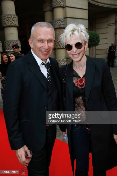 JeanPaul Gaultier and actress Tonie Marshall attend the JeanPaul Gaultier Scandal Fragrance Launch at Hotel de Behague on June 15 2017 in Paris France