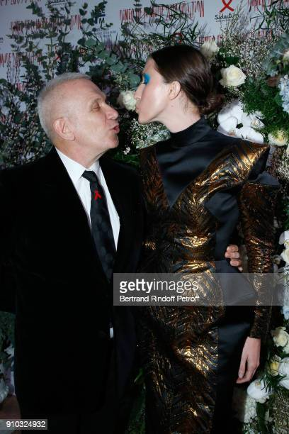 JeanPaul Gaultier and Anna Cleveland attend the 16th Sidaction as part of Paris Fashion Week on January 25 2018 in Paris France
