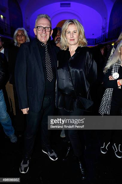 JeanPaul Gaultier and Christine Bergstrom attend the 'ICCARRE' Auction Cocktail To Benefit AIDS Research At Maison Jean Paul Gaultier on November 23...