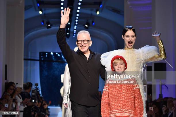 JeanPaul Gaultier and Coco Rocha pose on the runway during the Jean Paul Gaultier Haute Couture Fall/Winter 20172018 show as part of Haute Couture...