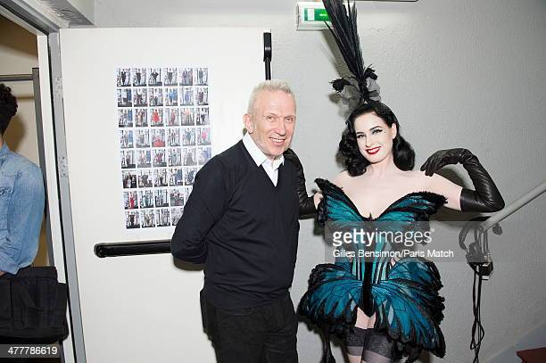 JeanPaul Gaultier and Dita Von Teese are photographed for Paris Match on January 02 2014 in Paris France