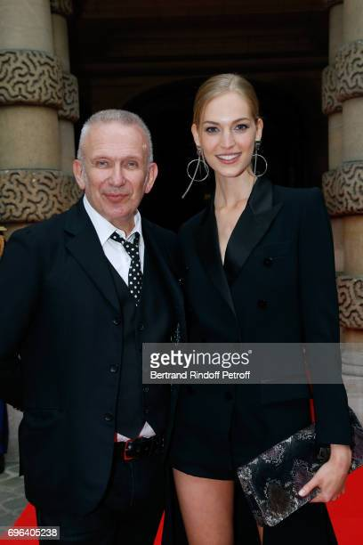 JeanPaul Gaultier and Egeria of the Fragrance Vanessa Axente attend the JeanPaul Gaultier Scandal Fragrance Launch at Hotel de Behague on June 15...