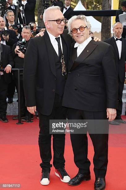 JeanPaul Gaultier and George Miller attend the Julieta premiere during the 69th annual Cannes Film Festival at the Palais des Festivals on May 17...