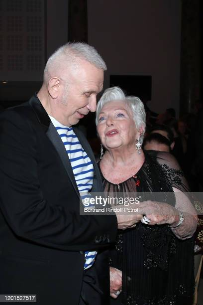 JeanPaul Gaultier and Line Renaud attend the Sidaction Gala Dinner 2020 at Pavillon Cambon on January 23 2020 in Paris France