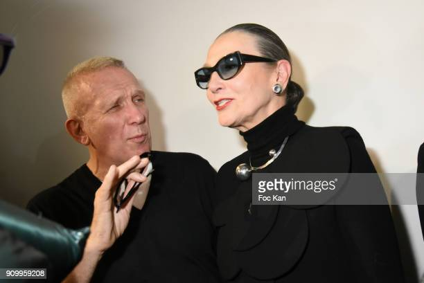 JeanPaul Gaultier and Maryse Gaspard attend the JeanPaul Gaultier Haute Couture Spring Summer 2018 show as part of Paris Fashion Week on January 24...