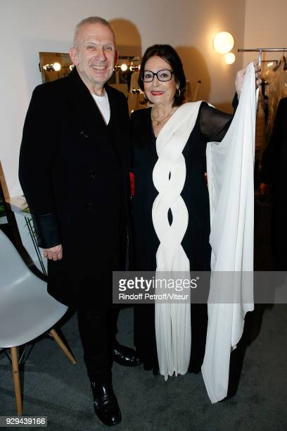 """Jean-Paul Gaultier and Nana Mouskouri in Dresse designed by JPG attend """"Nana Mouskouri Forever Young Tour 2018"""" at Salle Pleyel on March 8, 2018 in..."""